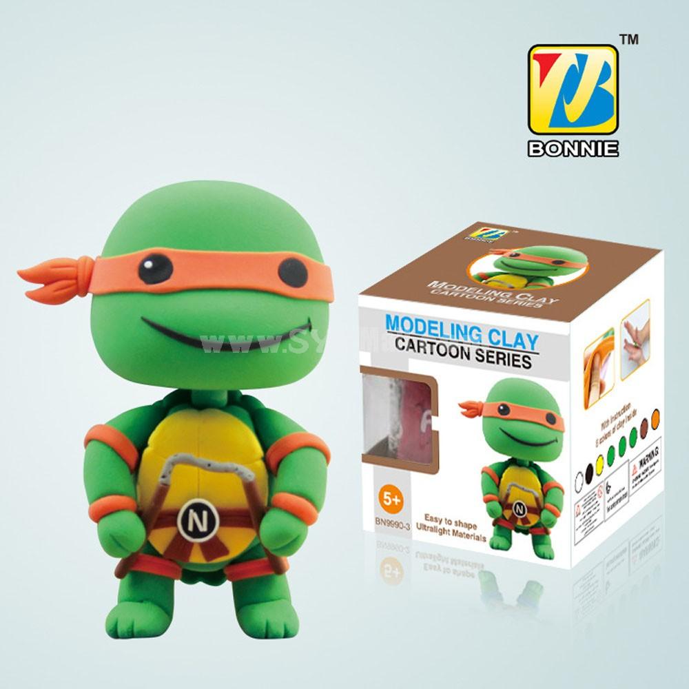 DIY Colorful Modeling Clay Ninja Turtles Figure Toy Michelangelo BN9990-3