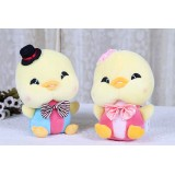 Wholesale - Cute Bowknot Couple Chicken Plush Toy 2pcs/Lot 19cm/7.5inch