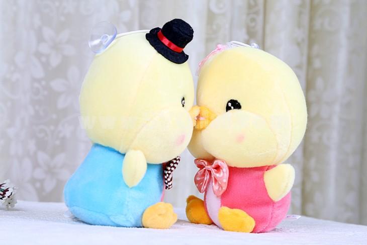 Cute Bowknot Couple Chicken Plush Toy 2pcs/Lot 19cm/7.5inch