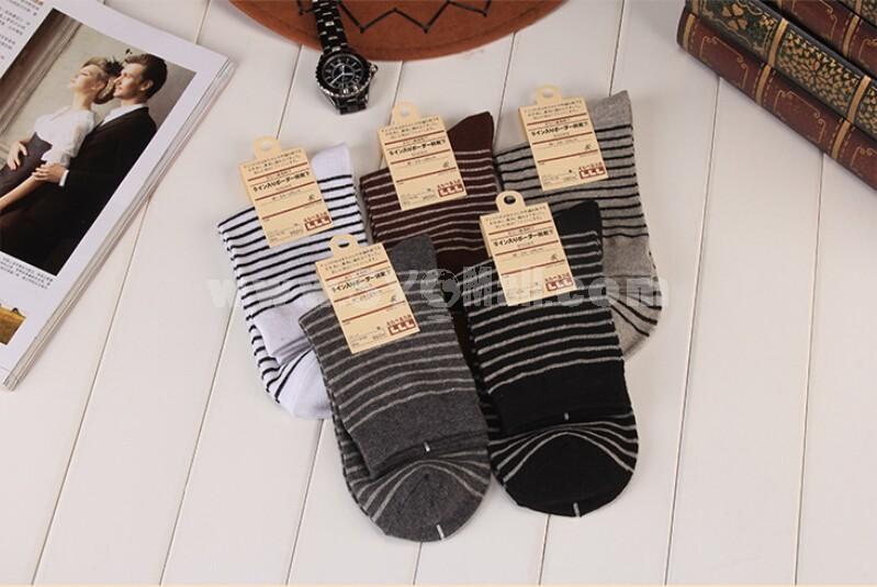 10pcs/Lot Men Winter Thickened Cotton Socks Formal Socks Zebra-stripe Mixed Colors