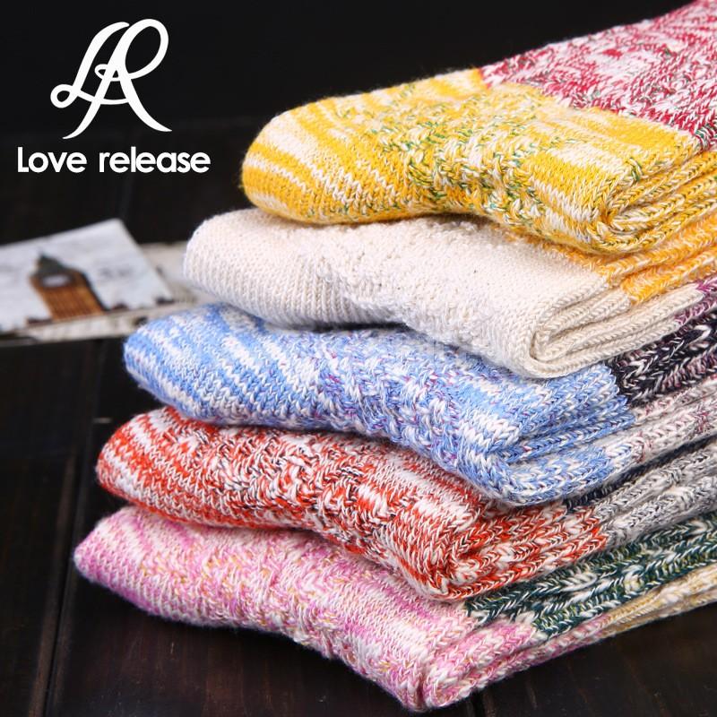 10pcs/Lot Harajuku Style Vintage Women Cotton Socks Mixed Colors