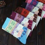 Wholesale - 10pcs/Lot Ethnic Style Women Winter Thickened Cony Hair Socks Room Socks -- Snowflakes Mixed Colors