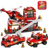 Wholesale - Sluban DIY Fire series Car+Helicopter Blocks Mini Figure Toys Compatible with Lego Parts 371Pcs B0225