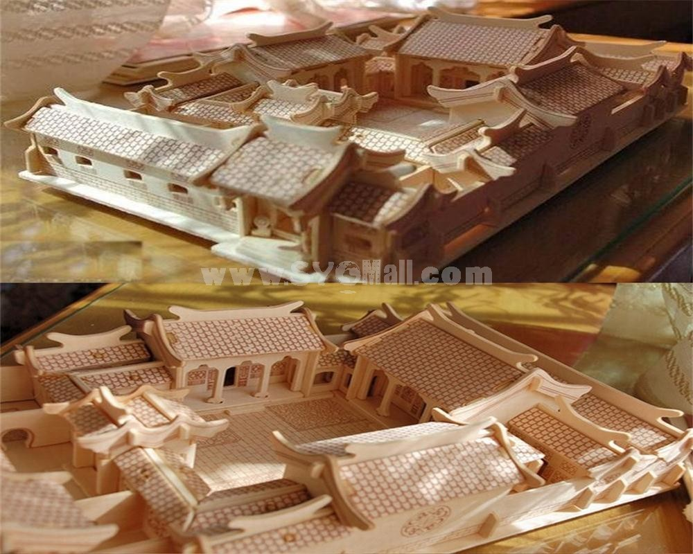 DIY Wooden 3D Jigsaw Puzzle Model Beijing Courtyard 32*22*15cm/12.6*1.75*5.9inch