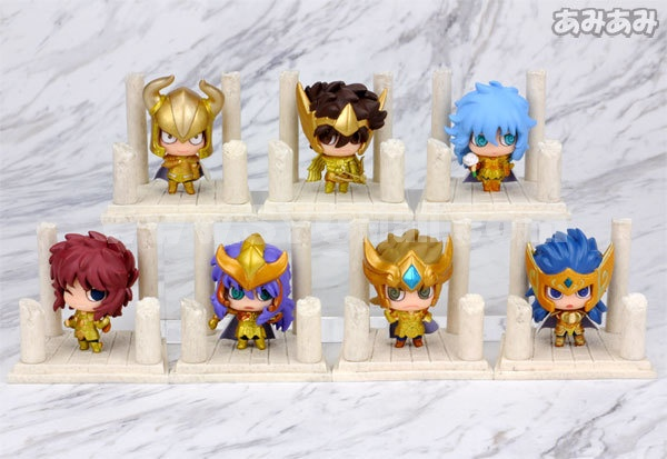 Anime Saint Seiya Egg Box Q Version Gold Zodiac Action Figures Toys 7Pcs Set Q236
