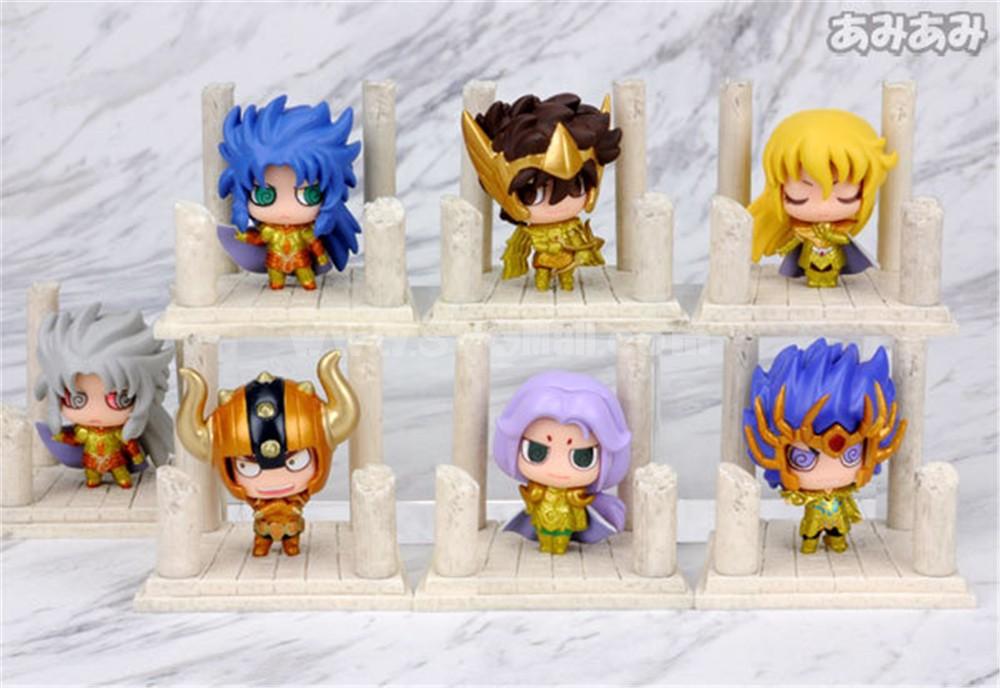 Anime Saint Seiya Egg Box Q Version Gold Zodiac Action Figures Toys 7Pcs Set Q237