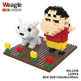 Wholesale - Weagle DIY Diamond Mini Blocks Figure Toys Shin-chan 222Pcs 2248
