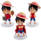 Wholesale - One Piece Luffy Doll Mini PVC Action Figures Toys 3Pcs Set
