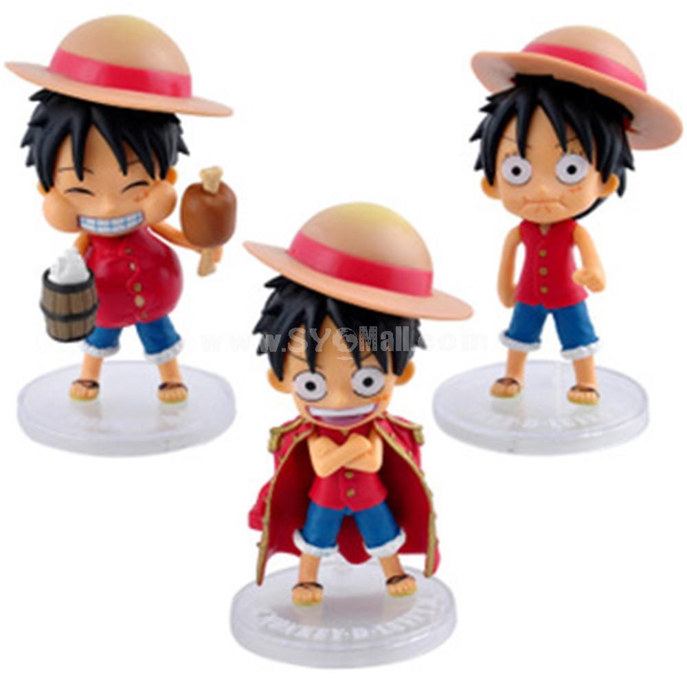 One Piece Luffy Doll Mini PVC Action Figures Toys 3Pcs Set