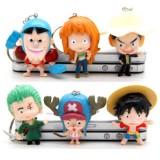 Wholesale - One Piece Figures Toys Key Chains 6pcs Set