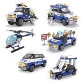 Wholesale - Fashion Police Car Set Blocks Mini Figure Toys Compatible with Lego Parts 6Pcs Set 109-114