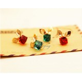Wholesale - Wanying Square Crystal Alloy Stud Earrings