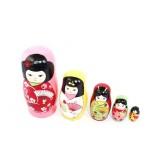 wholesale - 5pcs Set Handmade Wooden Russian Nesting Doll - Japanese Girl 14cm/5.5in
