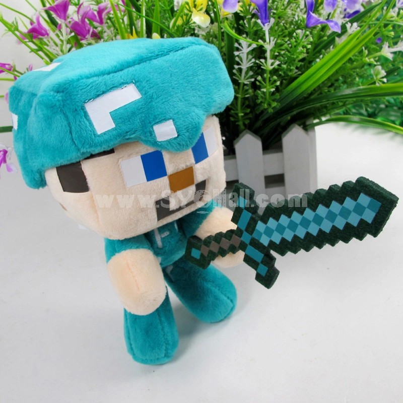 MineCraft My World Steve With Sword Doll Plush Toy 18cm/7inch