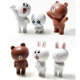Wholesale - Line App Emoticons Doll Usbbown Bear Cony Rabit PVC Action Figure Toys 6Pcs Set