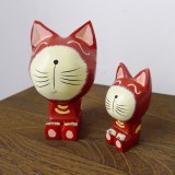 Wholesale - Zakka Hand Made Wood Crafts Coloured Drawing Home Decoration Cat 2Pcs Set