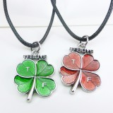 Wholesale - Jewelry Lovers Neckla Created Infinity Chain Pendant Four Leaf Clover Couple Necklace 2Pcs Set XL295