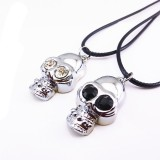 Wholesale - Jewelry Lovers Neckla Created Infinity Chain Pendant Skull Couple Necklace 2Pcs Set XL091