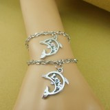 Wholesale - Jewelry Lovers Bracelets Created Infinity Charm Chain Dolphin Love Couple Bangles 2Pcs Set