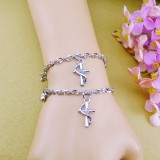 Wholesale - Jewelry Lovers Bracelets Created Infinity Charm Chain Christian Cross Couple Bangles 2Pcs Set