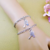 Wholesale - Jewelry Lovers Bracelets Created Infinity Charm Chain Racket Couple Bangles 2Pcs Set
