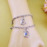 Wholesale - Jewelry Lovers Bracelets Created Infinity Charm Chain APPLE Couple Bangles 2Pcs Set