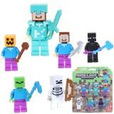 wholesale - MineCraft Block Mini Figure Toys Compatible with Lego Parts 6Pcs Set