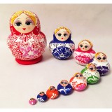 Wholesale - 10pcs Handmade Wooden Russian Nesting Doll Toy Basswood
