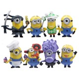 wholesale - 8Pcs DESPICABLE ME 2 The Minions PVC Action Mini Figure Toys 5.5-6.5cm/2.1-2.6inch Tall
