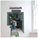 Wholesale - Minecraft 3D Wall Stickers Decorative Steve Dig Wall Decal 6009 50x70cm