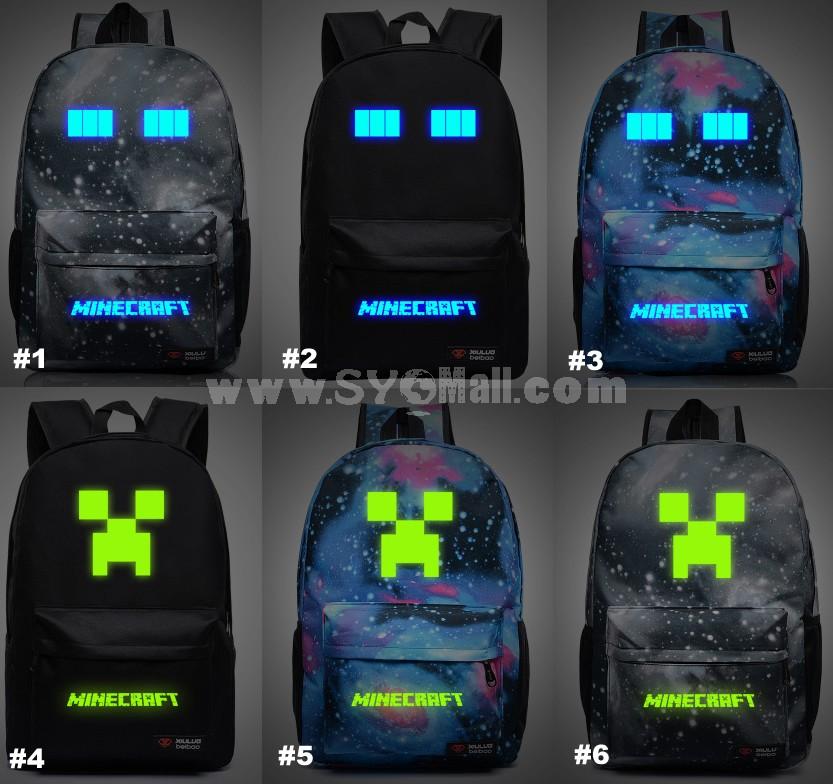 MineCraft MC Luminous Pattern Backpacks Shoulder Rucksacks Schoolbags