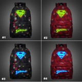 Wholesale - Superman Backpacks Luminous Fashionable Plaid Shoulder Rucksacks Schoolbags