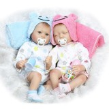 "Wholesale - 22"" High Simulation Baby Doll Boy and Girl Twins Lifelike Realistic Silicone Doll NPK-012"
