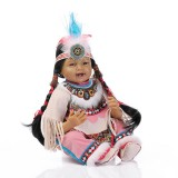 """Wholesale - 22"""" High Simulation Native American Indian Girl Baby Doll Lifelike Realistic Silicone Doll NPK-027"""