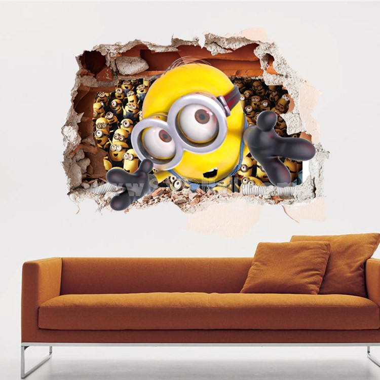 Despicable Me The Minions 3D Wall Stickers Decorative Wall Decal 60x90cm