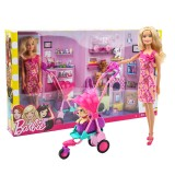 wholesale - Barbie Doll with Puppies Cats Pram Fashion Playset Toys BCF82