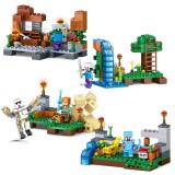 wholesale - 4-In-1 MineCraft Lego Compatible Building Blocks Mini Figure Toys Jungle Scene
