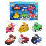 wholesale - 6Pcs Set Paw Patrol Roles Action Figure Toys with Pull-back Vehicles 3Inch