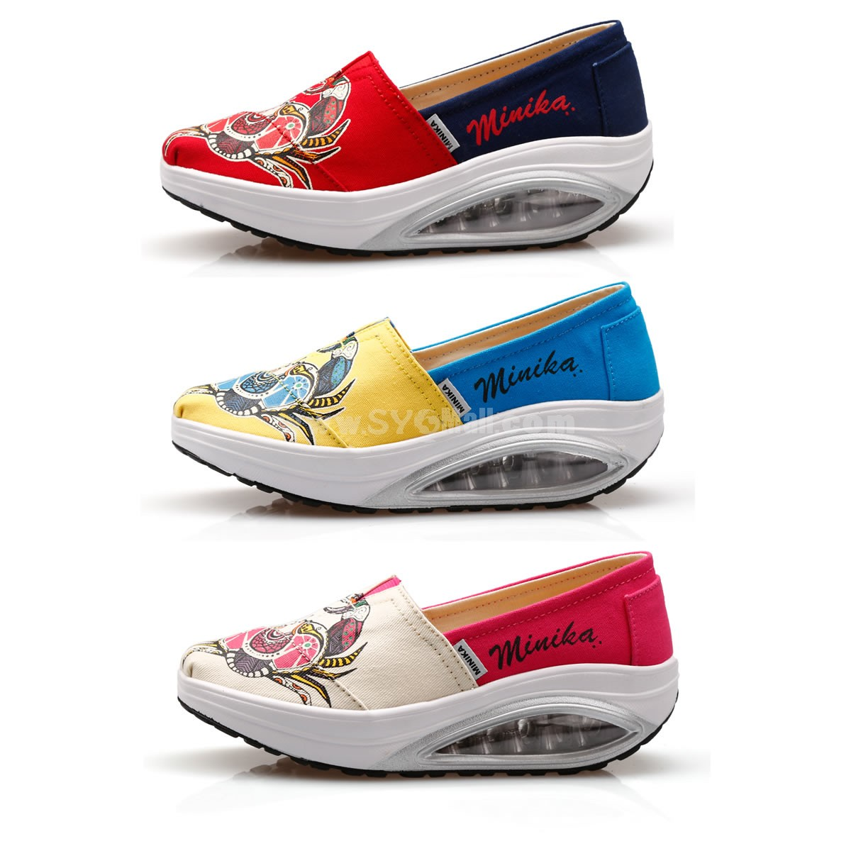 Women's Canvas Platforms Slip On Sneakers Athletic Air Cushion Walking Shoes 1556