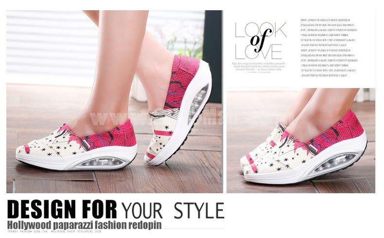 Women's Canvas Platforms Slip On Sneakers Athletic Air Cushion Walking Shoes 1553