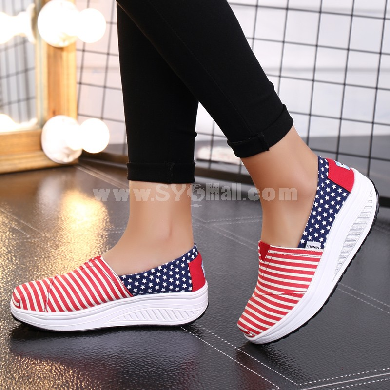 Women's Canvas Platform Slip On Sneakers Athletic Walking Shoes 9001-24