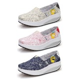 Wholesale - Women's Canvas Platform Slip On Sneakers Athletic Walking Shoes 1514
