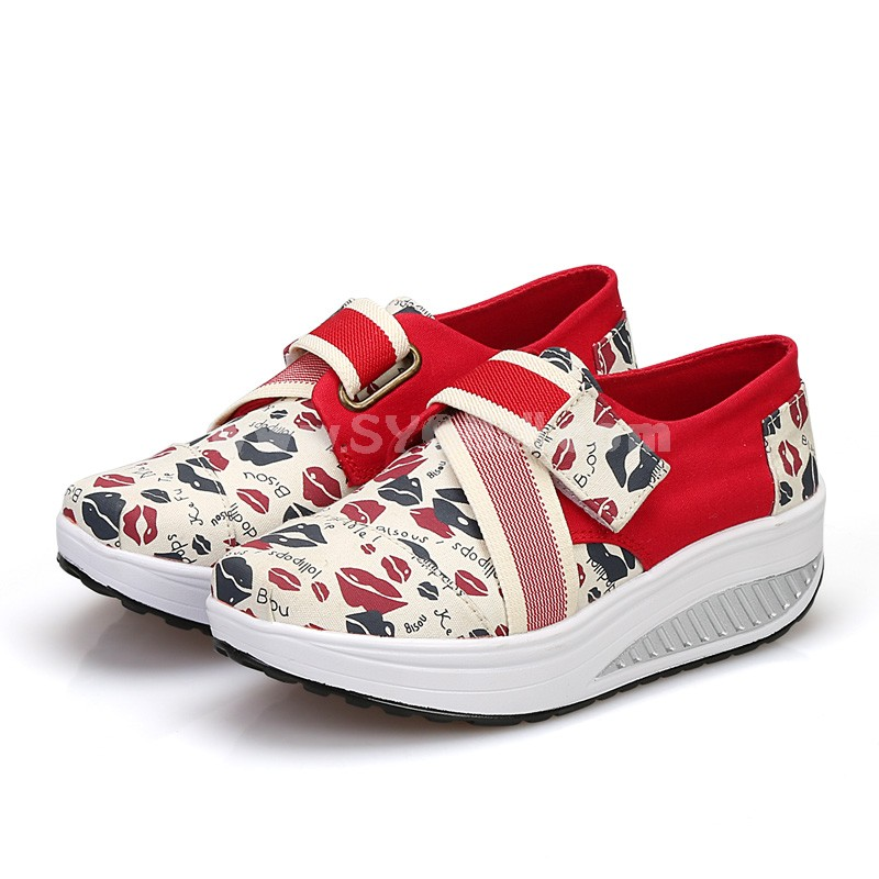 Women's Canvas Platform Slip On Sneakers Athletic Walking Shoes 9002-6