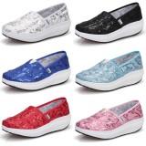 Wholesale - Women's Canvas Platform Slip On Sneakers Athletic Walking Shoes 1715