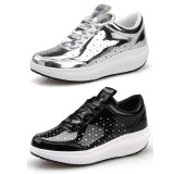 Wholesale - Women's Glossy Leather Sneakers Lace Up Athletic Walking Shoes 1672