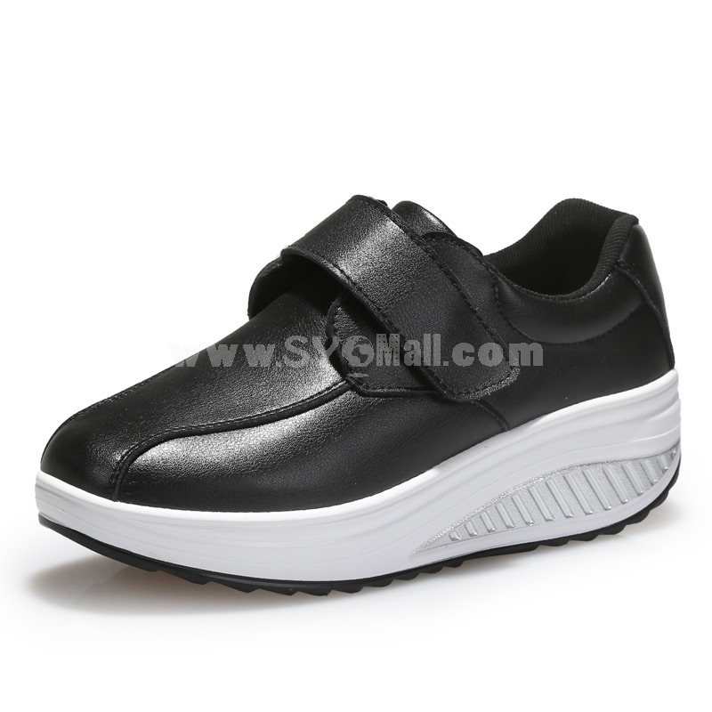 Women's Leather Buckle Slip On Sneakers Athletic Walking Shoes 1625
