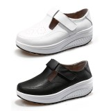 Wholesale - Women's Leather Buckle Slip On Sneakers Athletic Walking Shoes 1624
