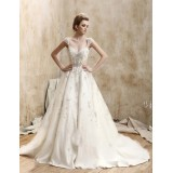 Wholesale - Ball Gown V-neck Court Train Re-Embroidered Lace Wedding Dress