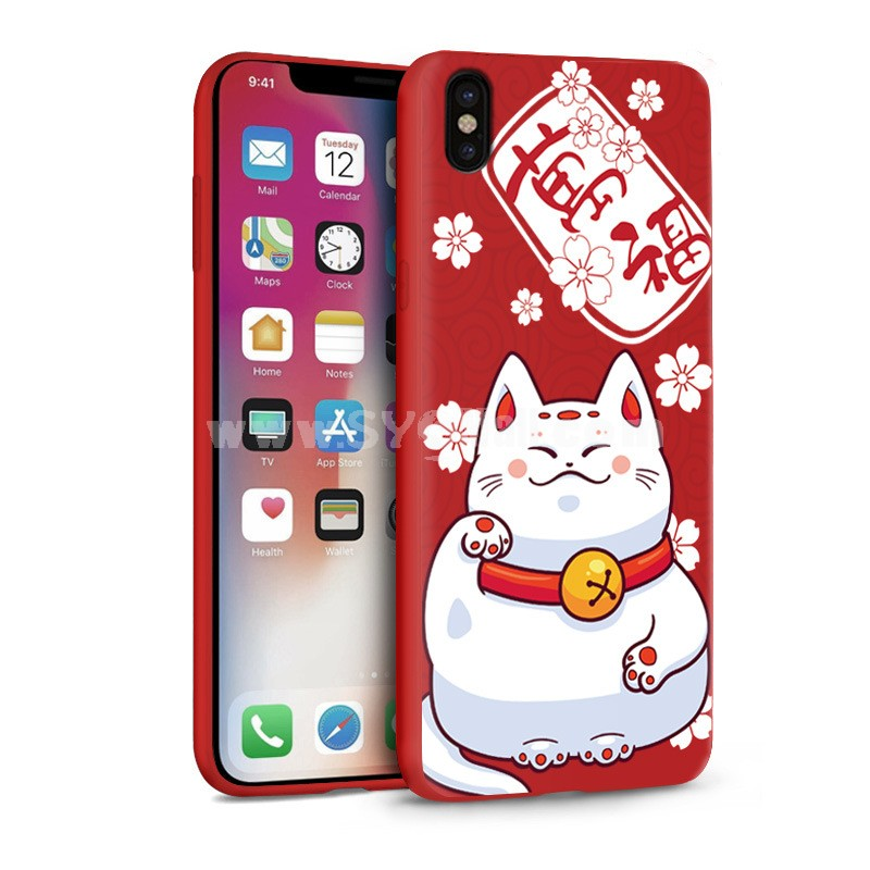iPhone X Cases Painting 3D Relief Sculpture Flexible TPU Gel Case Cover for iPhoneX