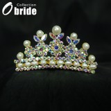 Wholesale - Gorgeous Alloy With Colorful Crystals And Imitation Pearls Wedding Bridal Tiara